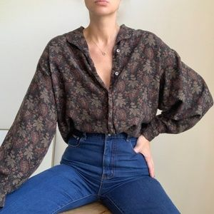 Vintage Patterned Dolman Blouse Button Up